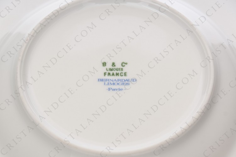 Soup plate in Limoges china by Bernardaud pattern platinum Pavie, decorated with cobalt blue and platinum borders