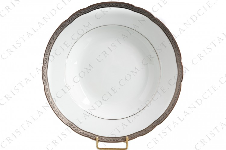 Soup plate in Limoges china by Bernardaud pattern Torsade incrustée, decorated with platinum inlays