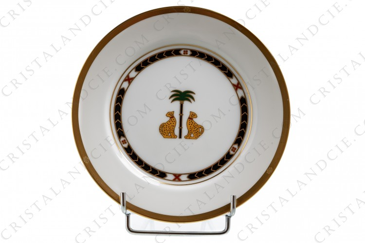 Bread and butter plate in china by Christian Dior pattern Casablanca decorated with a couple of leopards and a palm tree in the middle and with gold borders photo-1