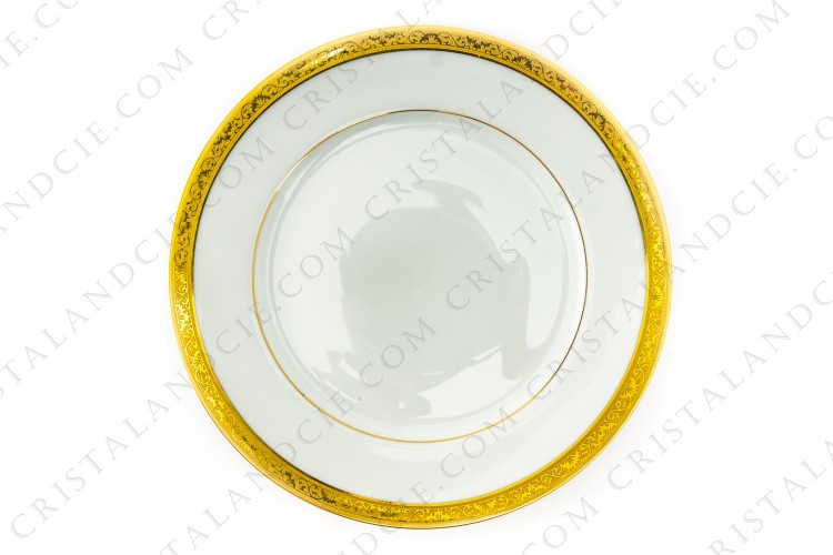 Dinner plate in Limoges china by Raynaud pattern Ambassador gold, decorated with a gold inlays frieze photo-1