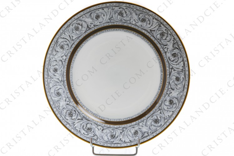 Dinner plate in Limoges china by Haviland et Parlon pattern Rome decorated with a grisaille of foliage of acanthus leaves and with brown and gold borders photo-1