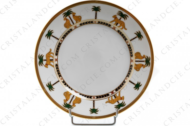 Salad plate in china by Christian Dior pattern Casablanca decorated with polychromes leopards and palm trees and with gold borders photo-1