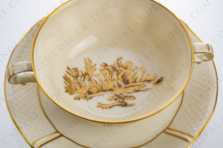 Bouillon cup in Limoges china by Bernardaud decorated with gold hand painted rurals scenes by R photo-1