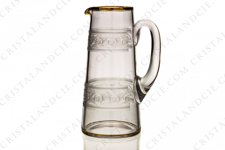 Water jug in crystal by Baccarat engraving Athénienne decorated with friezes of acanthus leaves and gold borders photo-1