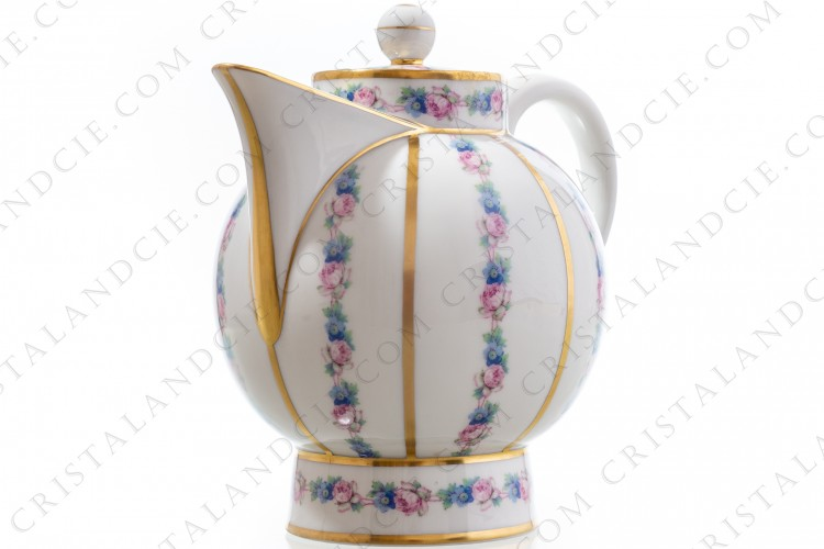 Art Deco coffee pot in china of Limoges by Legrand decorated with polychromes flowers