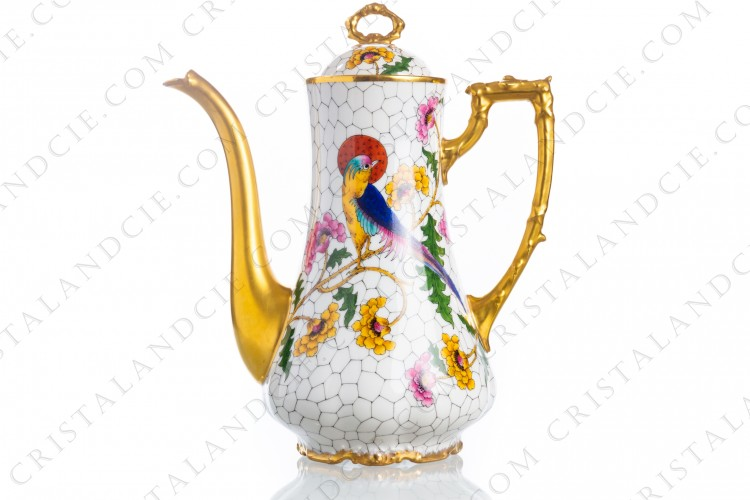 Coffee pot in Limoges china decorated with hand painted bird of paradise on flowery branches by the workshop P photo-1