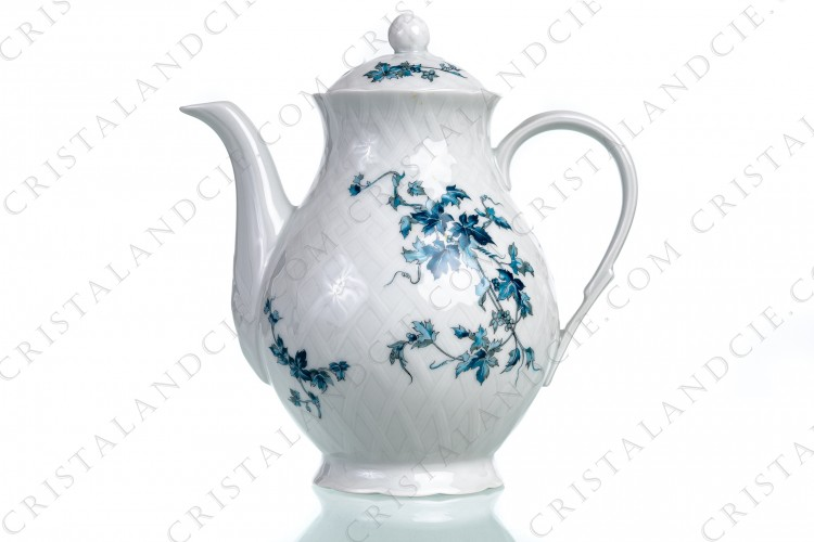 Coffee pot in Limoges china by Bernardaud pattern Saint-Saens decorated with foliages in shades of blue