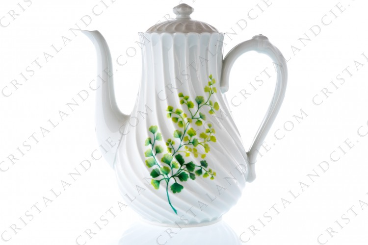 Coffee pot in Limoges china by Haviland pattern Tors decorated with boughs