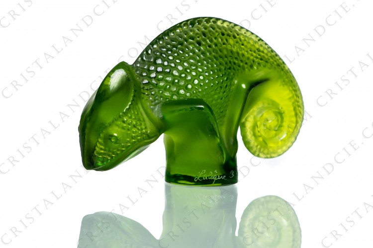 Chameleon in clear and frosted green crystal by Lalique photo-1