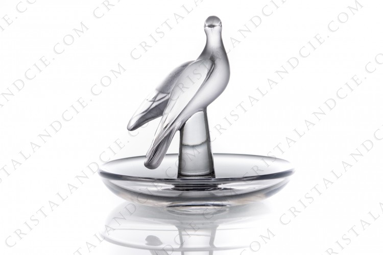 Ashtray in crystal by Lalique pattern Charis, with a bowl in clear crystal and the bird in frosted crystal photo-1