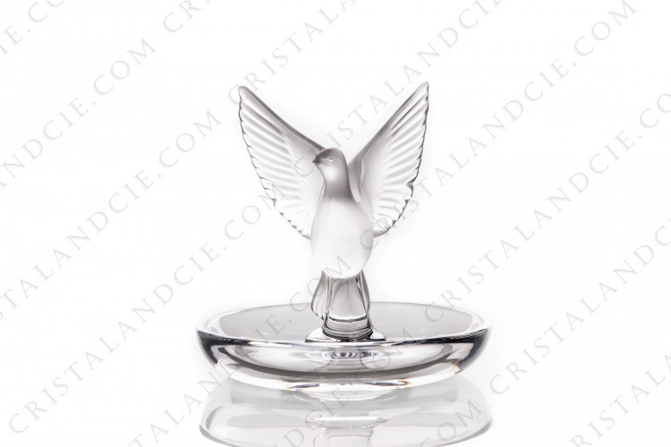 Ashtray in crystal by Lalique pattern Thalie, with a bowl in clear crystal and the bird in frosted crystal photo-1