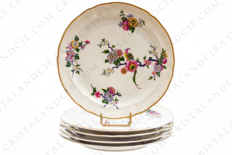 Set of five dessert plates in china of Limoges by Bernardaud pattern Bengali decorated with polychromes flowers and birds of paradise photo-1