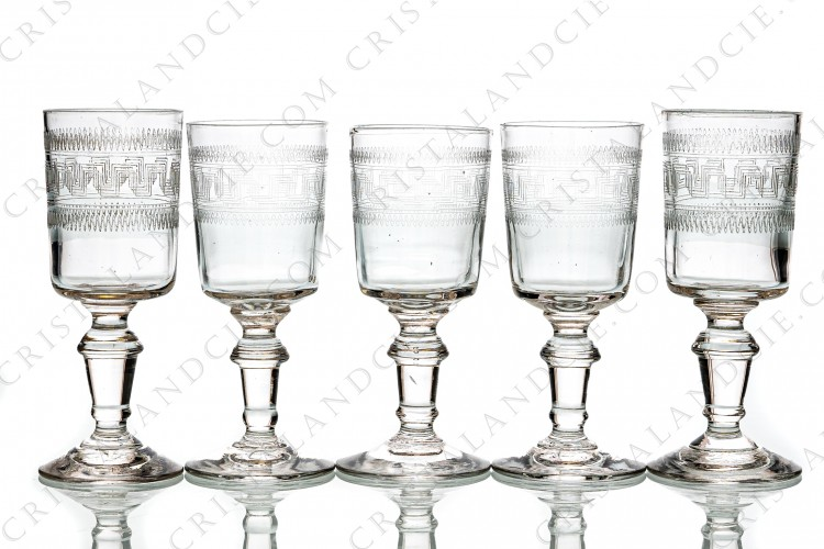 Five cordial glasses cylindrical shape by Baccarat