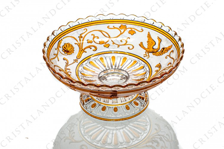 Orange bowl with birds of paradise by Baccarat