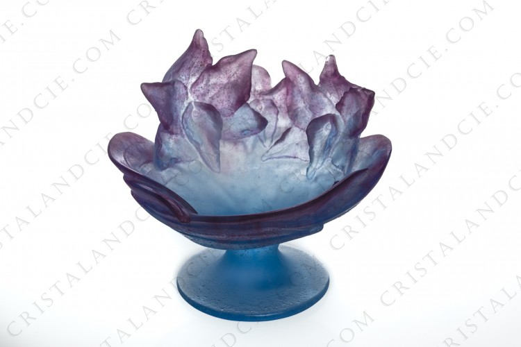 Footed bowl in blue and purple pate de verre by Daum pattern Orchid Amethyst