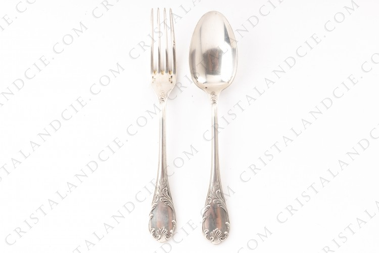 Baby flatware set in platted silver by Christofle pattern Marly with a Rocaille pattern