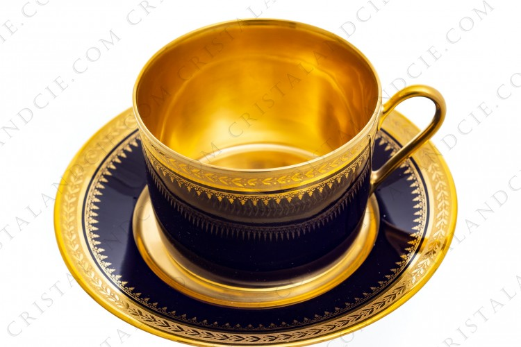 Breakfast cup in Limoges china by the workshops Pastaud decorated with blue cobalt and with a laurels freze in gold inlays photo-1