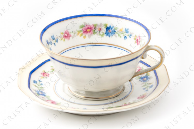 Breakfast cup in Limoges china by Bernardaud decorated with frieze of polychromes flowers and blue strip photo-1