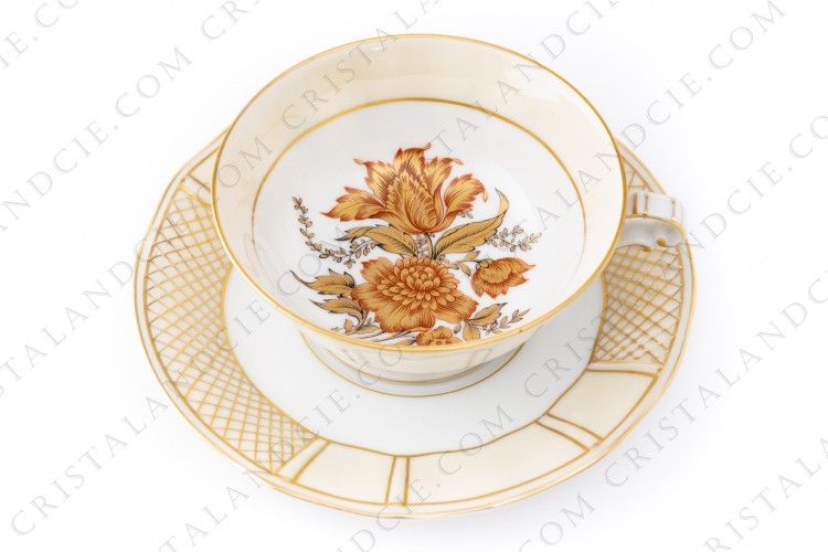 Breakfast cup gold flowers by Bernardaud