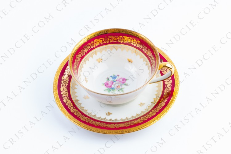 Red breakfast cup by Limoges
