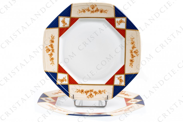 Two octagonal plates in Limoges china by Haviland et Parlon pattern La Fayette with a textured blue, white, red pattern separated by gold borders and with red flowers photo-1