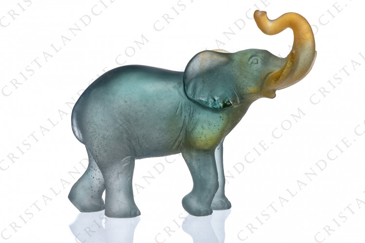 Figure in grey and amber pate de verre by Daum pattern small elephant, representing a lucky elephant