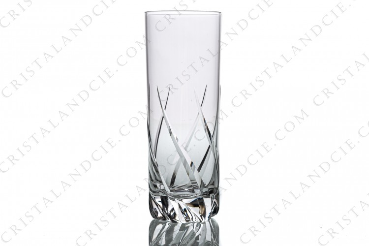 Champagne flute in crystal by Daum pattern Bleneau with a cut pattern