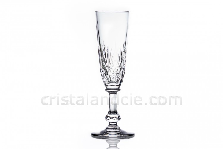 Champagne flute in crystal by Saint-Louis pattern Massenet with an important cut pattern on the parison and a ring on the dawn of the stem photo-1