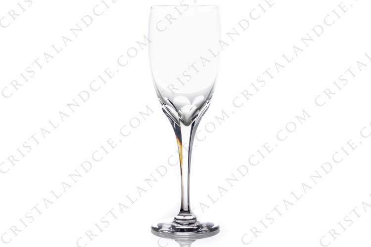 Champagne flute in crystal by Lalique pattern Tuileries with the stem is decorated with flatcuts