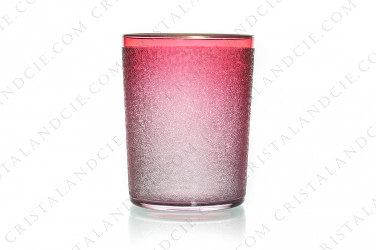 Tumbler in pink crystal by Saint-Louis with an engraved in the acid pattern and a gold stripe photo-1