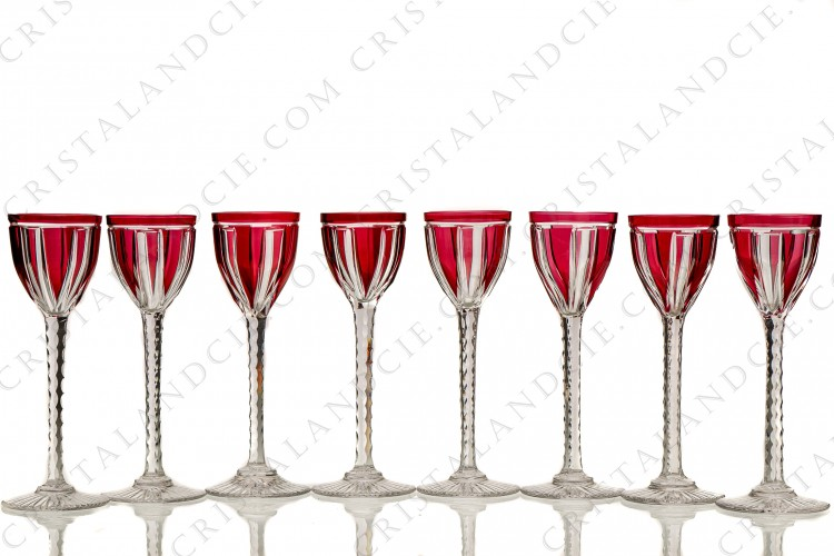 Eight red cordial glasses 1930 by Saint-Louis