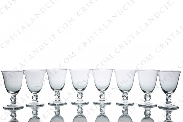 Set of eight sherry glasses n°5 in crystal by Daum pattern Orval with a twisted stem