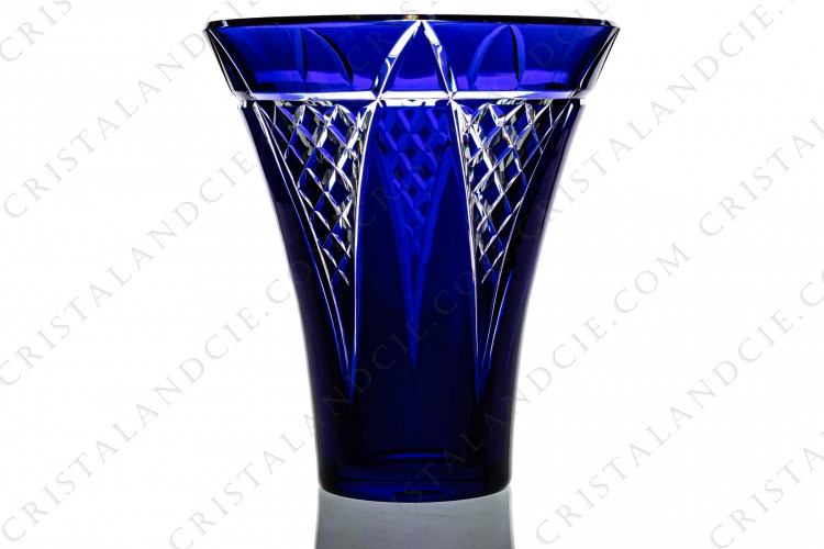 Towering blue vase by Baccarat
