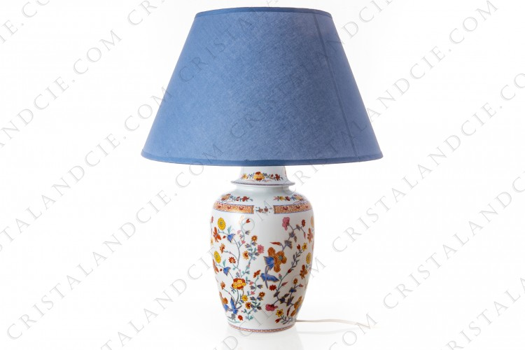 Lamp in china of Limoges by Bernardaud pattern Pondichery decorated with polychromes and gold flowers