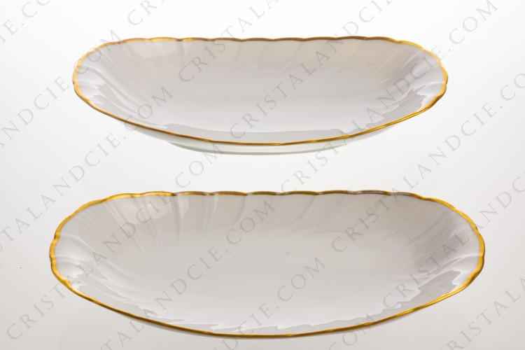 Pair of relish dishes in Limoges china by Bernardaud pattern Verlaine decorated with palmettes and a gold border