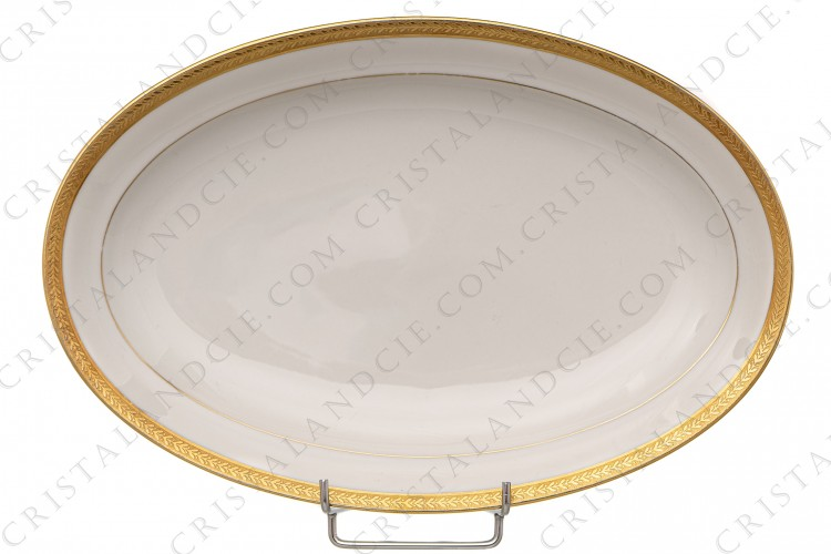 Small oval dish gold inlays by Chastanier