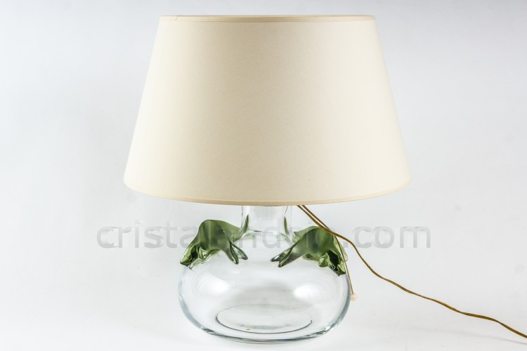 Lamp in crystal by Lalique pattern Saghir, shape of a ball decorated with two couples of sea lions in green frosted crystal photo-1