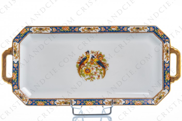 Cake plate with parrots Limoges