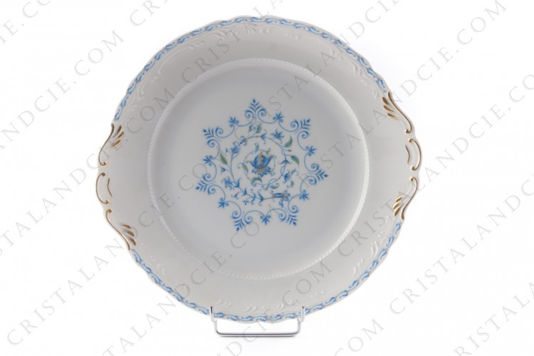 Cake dish in Limoges china by the Ancienne Manufacture Royale ( Bernardaud) decorated with blue flowers