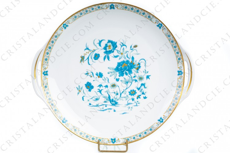 Cake dish in Limoges china by Haviland, pattern Nankin decorated with blue and gold flowers