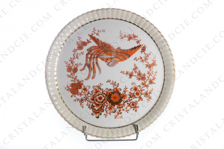 Cake dish in Limoges china by Bernardaud decorated with a bird of paradise and flowers red and golden photo-1
