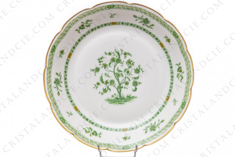 Round deep dish in Limoges china by Haviland pattern Arbre vert shape Lutece decorated with a green and brown flowered tree in the middle, with vegetables friezes and with a gold border photo-1