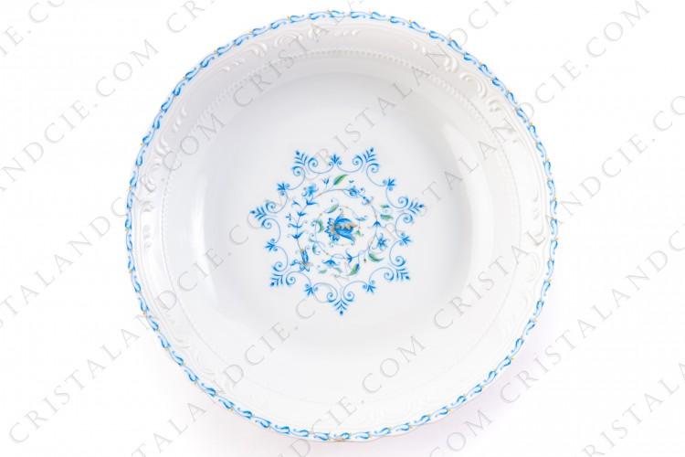 Deep round dish blue flowers by the Ancienne Manufacture Royale