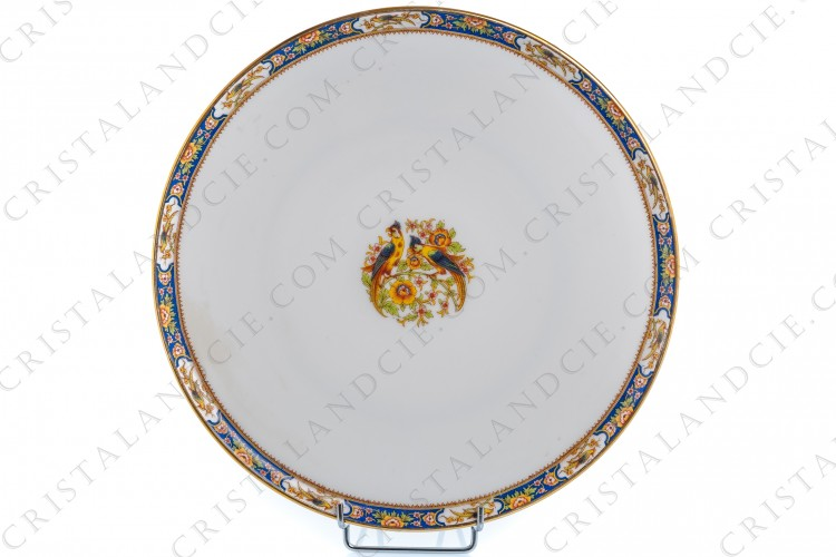 Tart dish with parrots Limoges