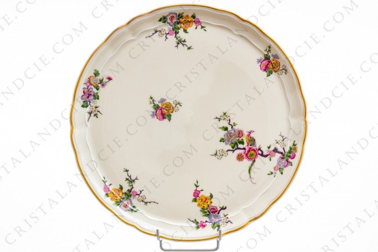 Tart dish in china of Limoges by Bernardaud pattern Bengali decorated with polychromes flowers and birds of paradise photo-1