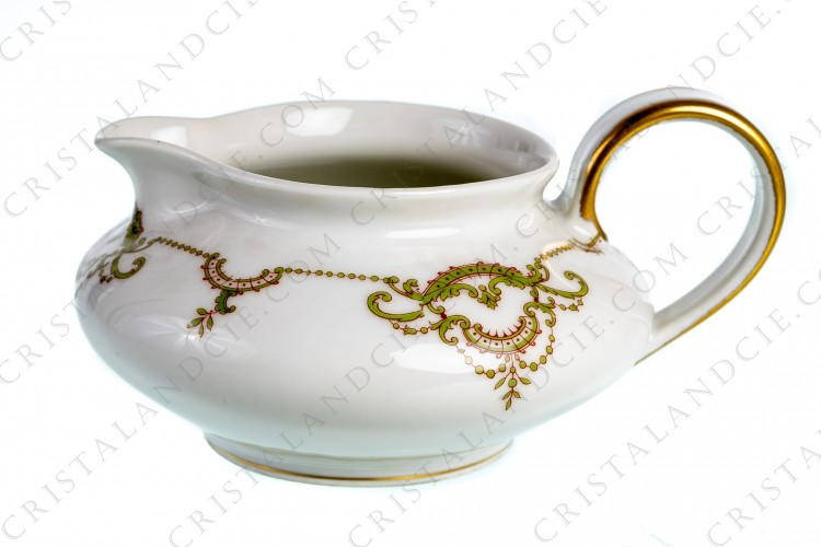 Creamer in Limoges china by Théodore Haviland decorated with green and gold acanthus leaf foliage photo-1