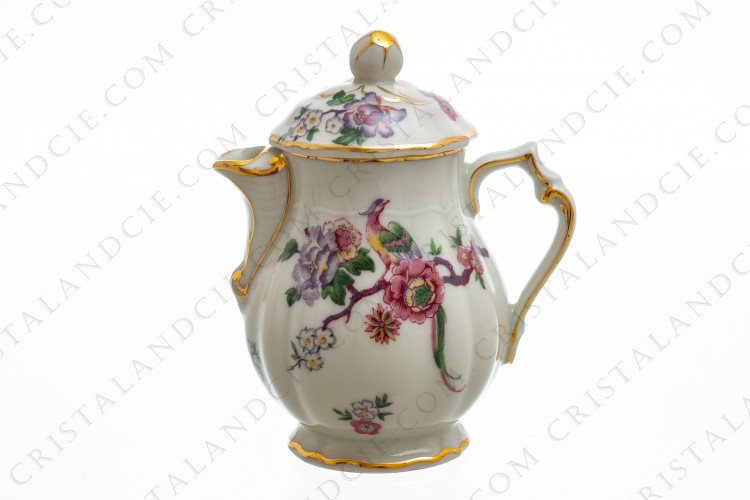 Creamer in china of Limoges by Bernardaud pattern Bengali decorated with polychromes flowers and birds of paradise photo-1