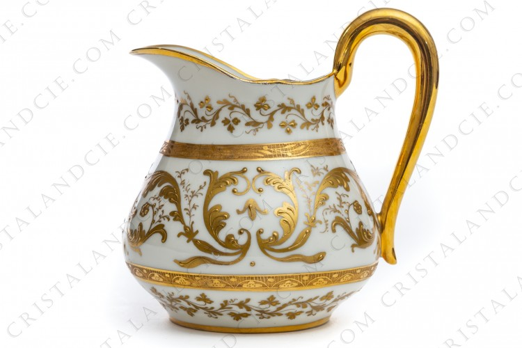 Creamer in Paris china decorated by the workshop Le Tallec with hand painted and hand enameled gold acanthus leaves photo-1