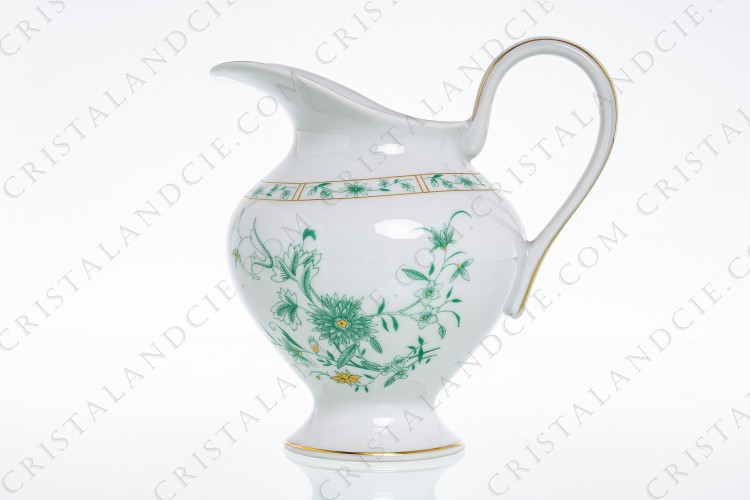 Creamer in Limoges china by Bernardaud pattern Pekin decorated with green gold enhanced flowers