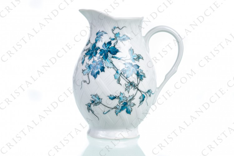 Creamer in Limoges china by Bernardaud pattern Saint-Saens decorated with foliages in shades of blue